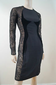 CATHERINE WALKER London Women's Black Lace Velvet Evening Cocktail Dress UK12
