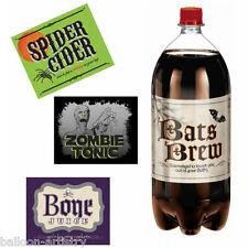 4 Elegant Halloween Bat Zombie Brew Shocktail 2 Litre Bottle Labels Decorations