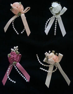5 triple ribbon rose & pearl clusters decorations choice of colours