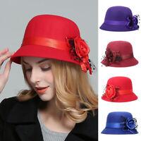 Women British Fashion Flower Formal Party Bucket Cap Boonie Brim Hat