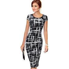 Elegant Women Dot Bodycon Short Sleeve Print Long Dress Pencil Skirt Office Work