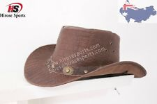 Genuine/Real Leather Cowboy Brown Hat with Pattern Shipping from Australia