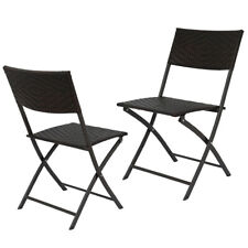 Set of 2 Folding Rattan Wicker Bar Stool Chair In/Outdoor Furniture Patio Chair