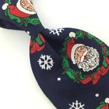 FLORENCE NAVY RED SANTA WREATHS SNOW FLAKES Christmas Necktie Tie X6-343 Classic