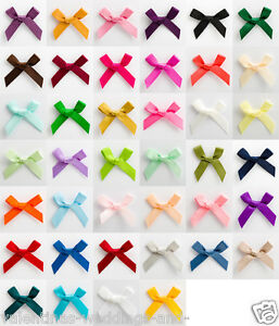 Small 3cm Satin Mini Bows - 6mm Pre Tied Ribbon - Crafts Wedding Cards Sewing