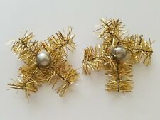 LOT OF 2 VINTAGE- ANTIQUE SNOWFLAKE SHINY METAL GOLD Tinsel Christmas Ornaments