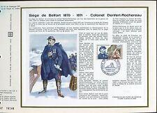 DOCUMENT CEF PREMIER JOUR  1970 TIMBRE N° 1660 SIEGE DE BELFORT COLONEL DENFERT