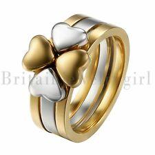 Stainless Steel Love Heart Four-Leaf Lucky Clover Ring 3 in 1 Women Girl's