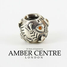 RETIRED!! Pandora Silver & Orange Zirconia FISHBONE CHARM - 790426OCZ RRP£50!!!