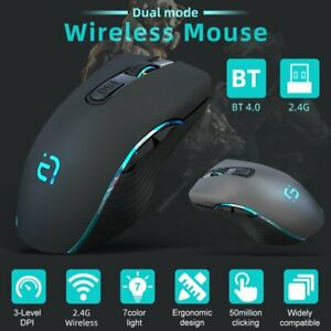 Bluetooth Wireless Rechargeable Gaming Mouse Cordless Optical Mice For PC Laptop