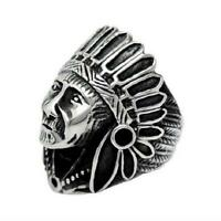 Vintage Men's Stainless Steel Large Apache Indian Chief Head Shield Biker Ring