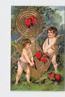 PPC POSTCARD VALENTINE CUPID CHERUBS WITH BASKET OF HEARTS TARGET GOLD EMBOSSED