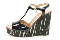 Womens Kate Spade Black Patent Leather T-strap High Wedge Sandals Size 8 New