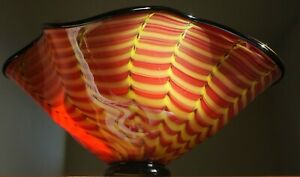 """BUCHACHER 16"""" GLASS BLOWN BOWL SEAFORM SIGNED DATED IN THE MANNER OF CHIHULY"""
