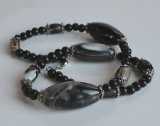 VINTAGE CHUNKY BLACK BANDED AGATE & BLACK ONYX BEADED NECKLACE