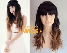 DELUXE LONG BLACK BLONDE OMBRE DIP DYE HEAT RESISTANT FASHION WIG FRINGE BANGS