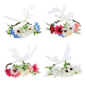 Boho Ladies Garland Flower Crown Floral Hairband Headband Party Wedding Ribbon