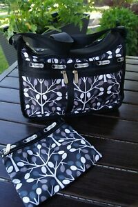LeSportsac Black Gray Arbor Tree Deluxe Everyday Bag & Pouch Purse