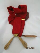 Hickok Extra Red Loose Knit Suspenders Braces Button On Brown Leather Brass