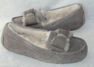 NIB UGG Women's Ansley Suede Bow Shearling Moccasin Slippers Gray 6 7 8 9 10