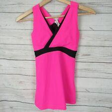 Lululemon 4 Tank Top Womens Hot Pink Black Trim Light Support
