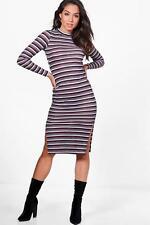 b63f0f95fbd6 Boohoo Natalie Multi Stripe Midi Bodycon Dress Size UK 8 Dh077 PP 20