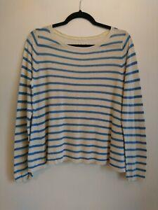 Ladies Seasalt Merrifield Jumper Size UK 8 Cream & Blue Striped Linen Oversized