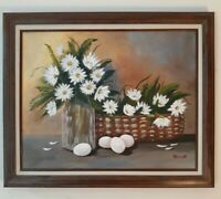 Beautiful FLORAL Original Oil Painting by PERREN on 16 x 20 Canvas. Framed.