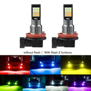 2X  Green H8 H9 H11 LED Fog Light Bulbs Car Driving Lamp DRL Dual Color Flash