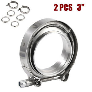 """2X 3"""" V-Band Flange Clamp V band 76mm for Turbo Exhaust Downpipe Stainless Steel"""