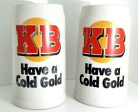 "KB Beer Mug 2x  ""Have a Cold Gold"" Vintage Made in Brazil PAIR Man-Cave"