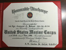 U.S. Marine Corps 1986 Honorable Discharge certificate with presentation holder