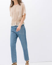 ZARA Woman Med Rise Relaxed Girl Friend Bleached Jeans Size 8 40