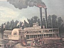 1863 Currier & Ives Litho Wooding Up on the Mississippi Steamer Princess Boat