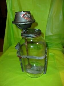 Circa 1950's TRICO  WINDSHIELD WASHER GLASS JAR WITH PUMP & MOUNTING BRACKET!