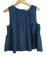 Madewell Riverbank Riverbank Button-Back Top in Indigo Women's Size Large