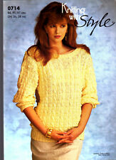 Retro Knitting with Style Pattern, 0714, Lady's Cable Sweater, 34-38
