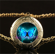 Blue Butterfly Photo Cabochon Glass Gold Plating Locket Pendant Necklace