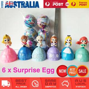6Pcs Princess Surprise Mystery Toy Ball Figure Ariel/Anna/Elsa/Alice Cake Topper