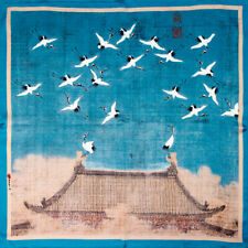Auspicious Cranes.100% genuine pure natural silk. Square neck scarf.52cm-20""