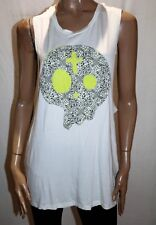 LUCY IN THE SKY Brand Cream Lace Up Back Skull Tank Top Size 10 BNWT #SZ55