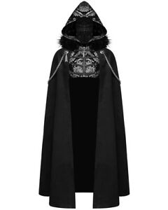 Devil Fashion Mens Gothic Hooded Cloak Coat Black Silver Damask Steampunk LARP
