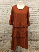 Moonshine Fashion Kleid Tunika Volants Lagenlook Übergröße 48 50 52 rost Neu