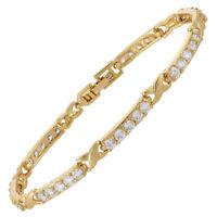 Xmas Jewelry Cubic Zirconia Round Cut White Topaz Tennis Statement Bracelet