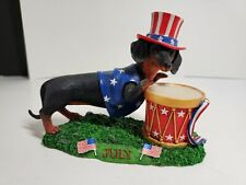 Danbury Mint Dachshund Calender July Dog Figurine
