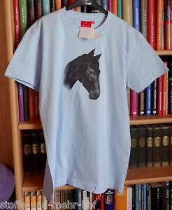 "T-Shirt mit Pferdemotiv ""Portrait Rappe"" hellblau Gr. 140"