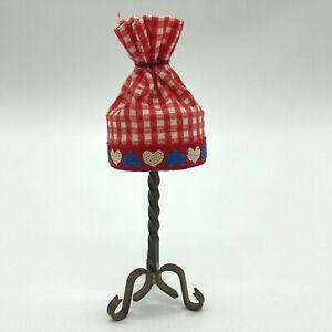 Antique 1:12 Brass Dollhouse Non-Electric Lamp Plaid Heart Shade Miniature NR