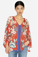 💕JOHNNY WAS Tassel Sleeve EVY Silk FLORAL SCARF PRINT V Neck Blouse M $225 💕