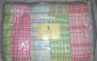 NEW Pottery Barn Kids PINK Laguna Crib QUILT toddler bed girls surf beach green