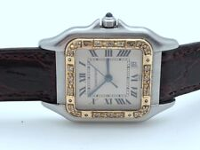 Cartier Tank 183949 STAINLESS STEEL 14K SOLID GOLD DIAMONDS BEZEL ORIGINAL BAND